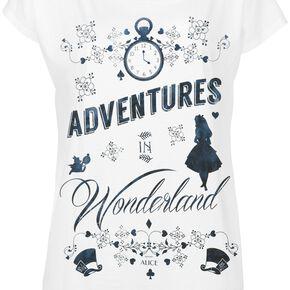 Alice Au Pays Des Merveilles Adventures In Wonderland T-shirt Femme blanc