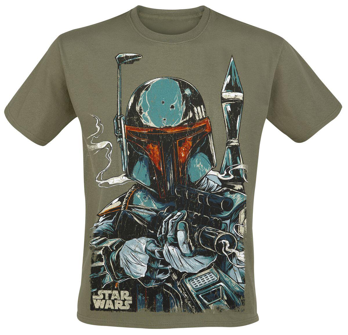 Image of   Star Wars Boba Fett Sketch T-Shirt grøn