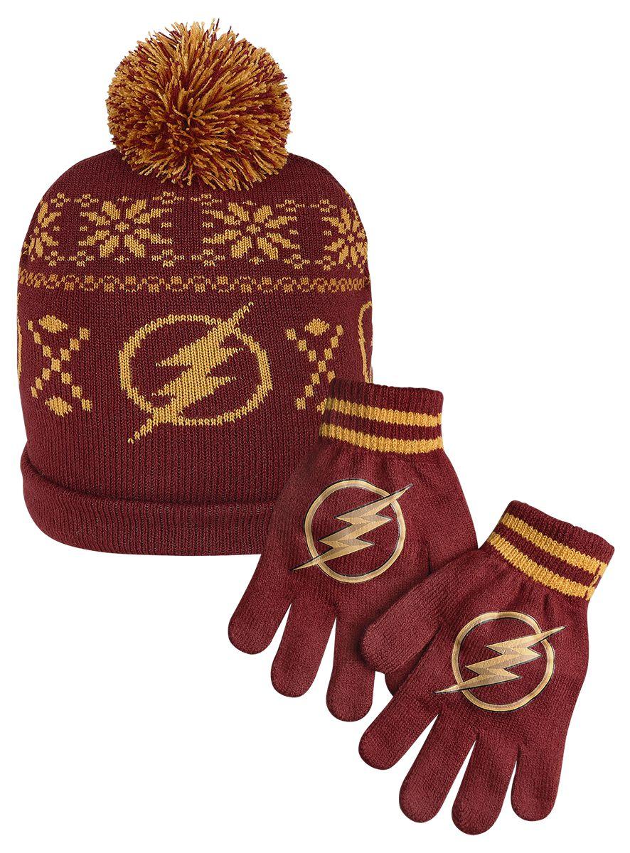 Merch dla Fanów - Czapki i Kapelusze - Beanie The Flash Logo - Czapka i Rękawiczki Beanie czerwony/żółty - 363265