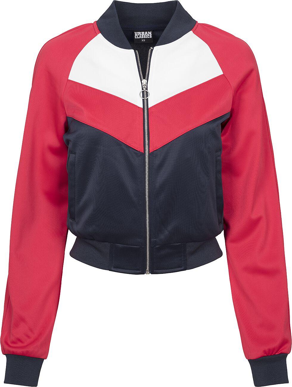 Marki - Kurtki - Kurtka treningowa damska Urban Classics Ladies Short Raglan Track Jacket Kurtka treningowa damska granatowy/czerwony - 363300