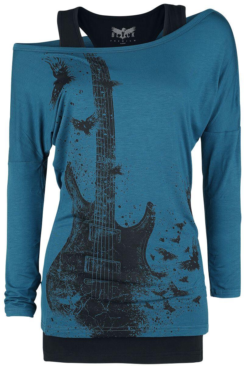 Image of   Black Premium by EMP Broken Chord Girlie langærmet blå