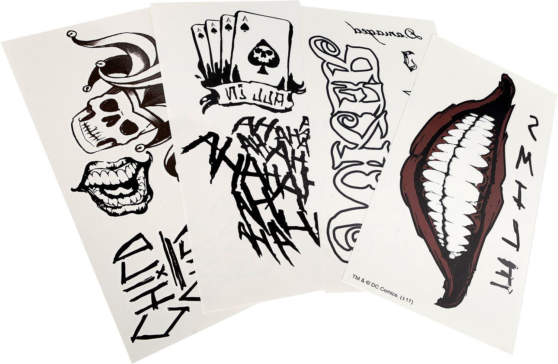 Merch dla Fanów - Kosmetyki - Sztuczny tatuaż Suicide Squad Joker Tattoo Sztuczny tatuaż wielokolorowy - 363510