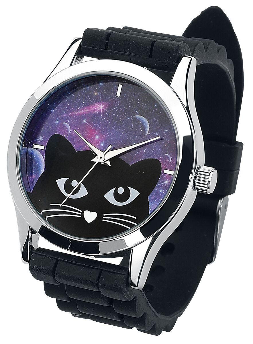 Uhren für Frauen - Katze Armbanduhr schwarz silberfarben  - Onlineshop EMP