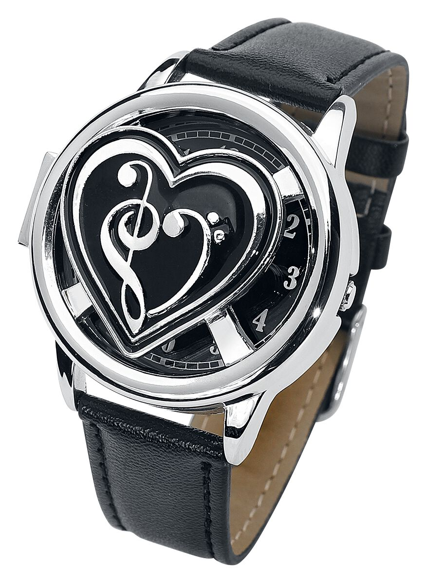Uhren für Frauen - Musiknote Spinner Armbanduhr schwarz silberfarben  - Onlineshop EMP