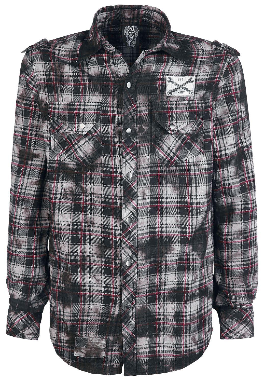 Merch dla Fanów - Koszule z długim rękawem - Koszula Gas Monkey Garage Logo Koszula czarny/szary/czerwony - 363602