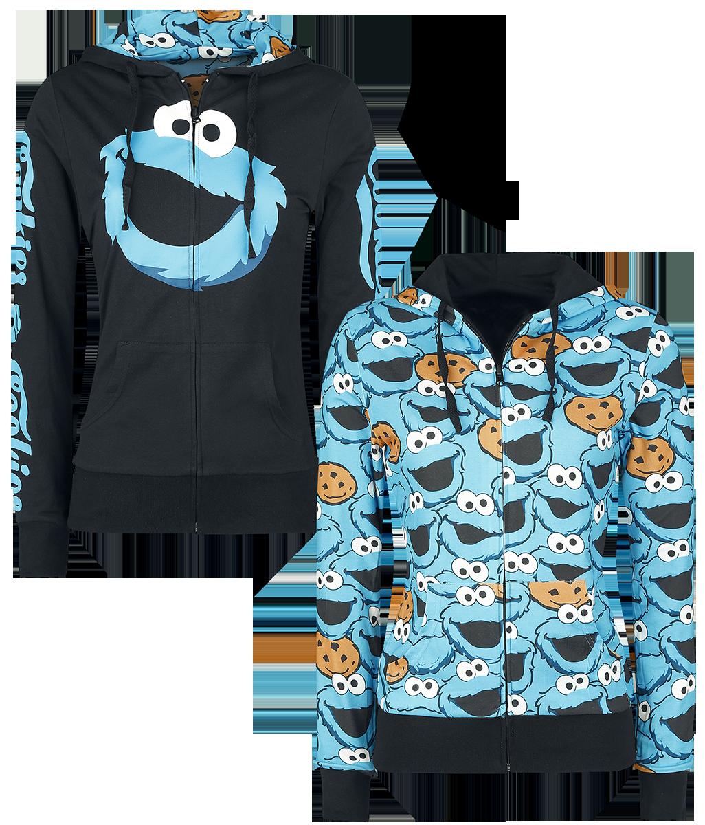 Ulica Sezamkowa Cookie Monster Bluza z kapturem rozpinana damska czarny/niebieski