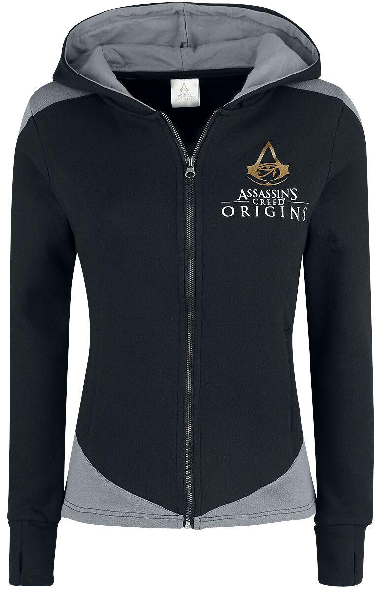 Image of   Assassin's Creed Origins - Symbol Girlie hættejakke sort-grå
