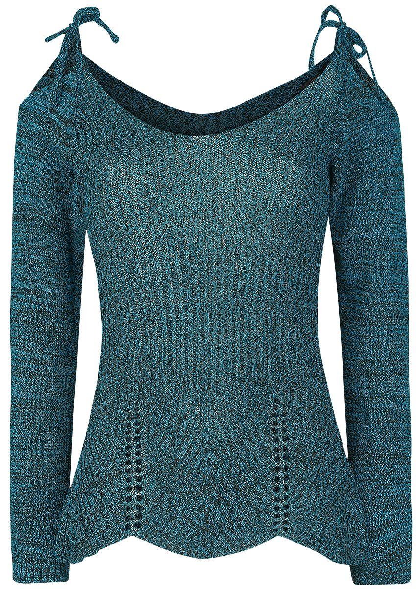 Marki - Bluzy - Sweter damski Innocent Gloria Rib Top Sweter damski niebieski (Petrol) - 364440