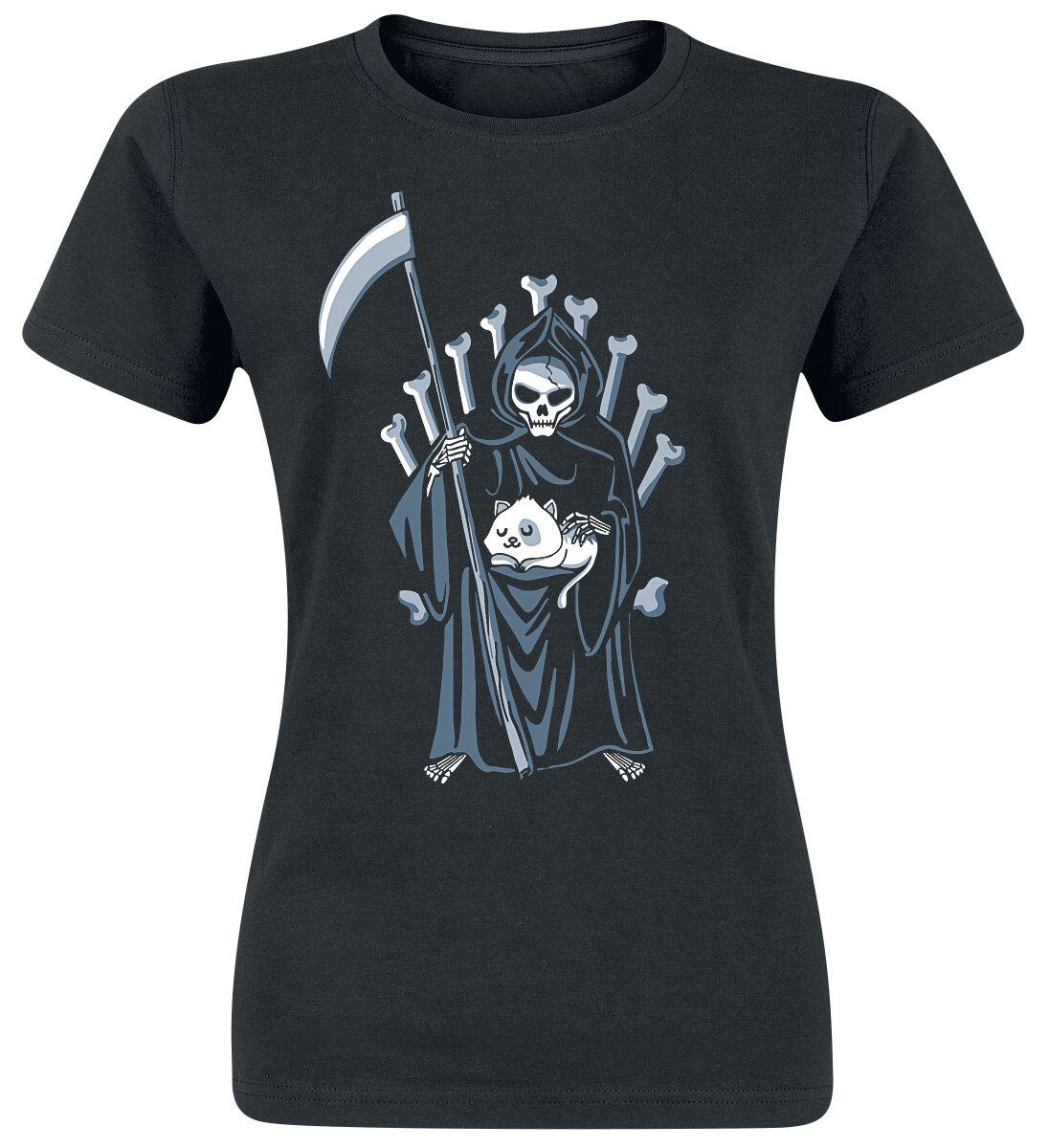 Fun Shirts - Koszulki - Koszulka damska Der Tod und die Katze Koszulka damska czarny - 364451