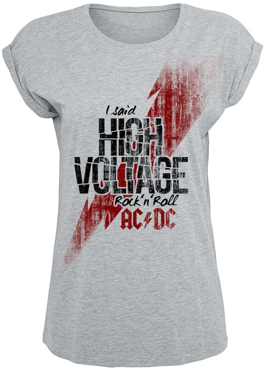 Image of   AC/DC High Voltage Girlie trøje lynggrå