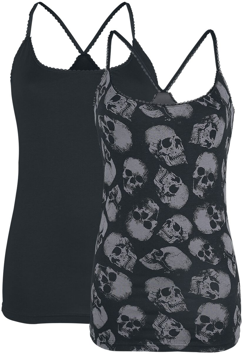 Image of   Black Premium by EMP Cross The Line Girlie top sort-grå