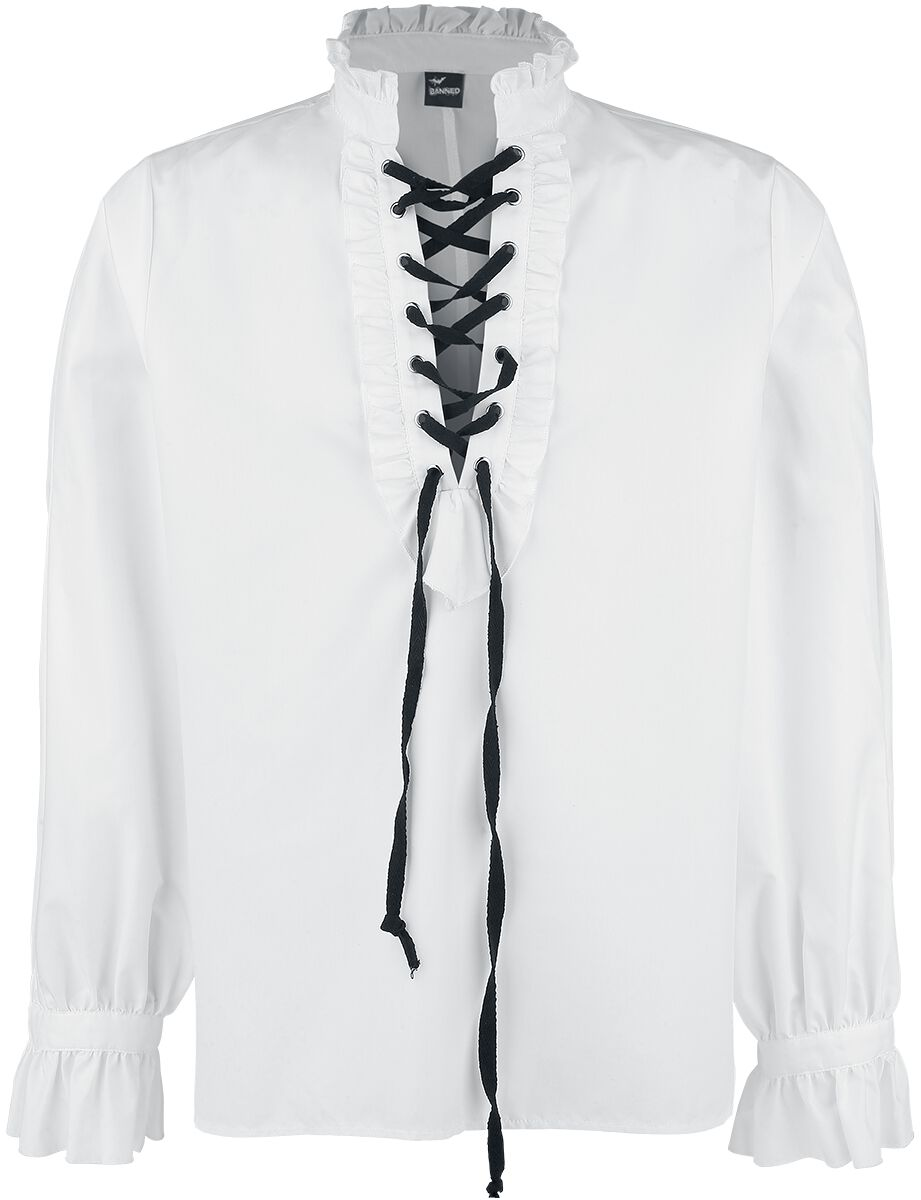 Image of   Banned Alternative Frilled Shirt - snøre Skjorte hvid