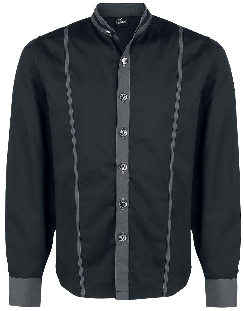 Image of   Banned Alternative Kontrasthemd mit Knopfverschluss Skjorte sort