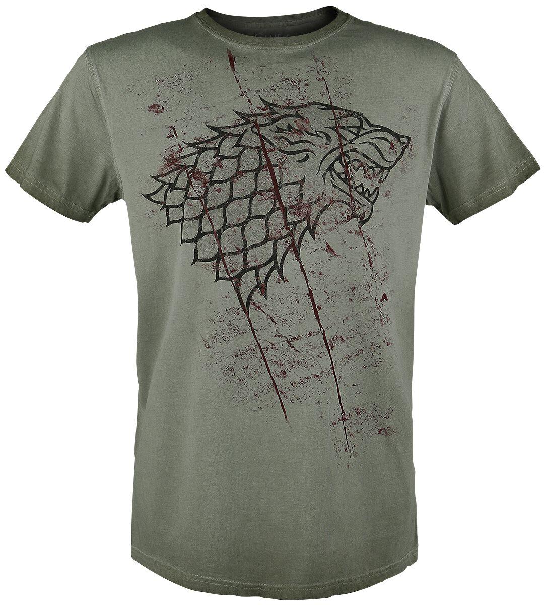 Image of   Game Of Thrones Stark Slashed Sigil T-Shirt olivengrøn