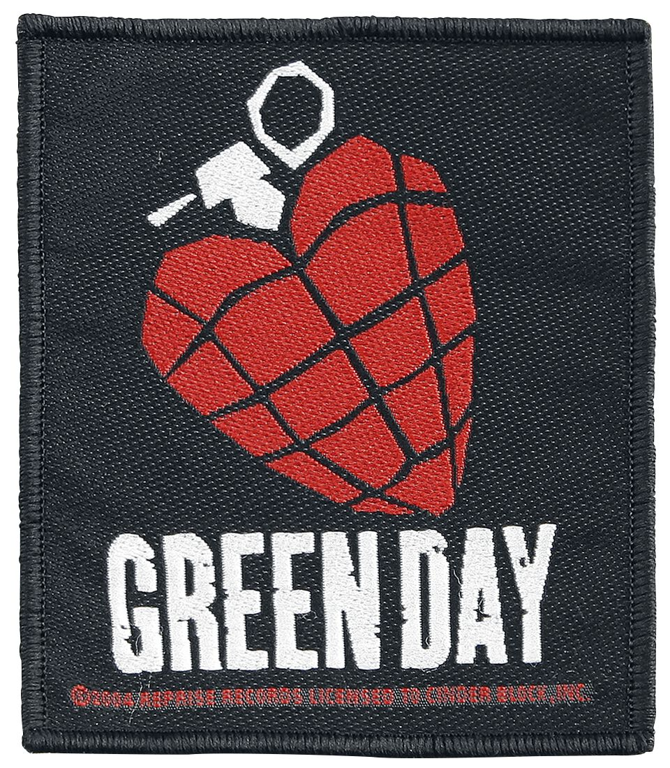 Green Day Heart Grenade Patch Mehrfarbig