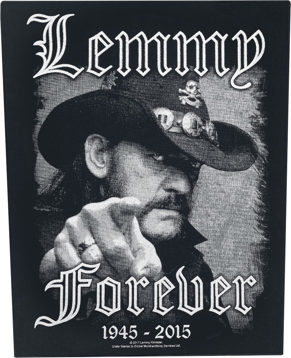 Image of   Motörhead Lemmy Kilmister - Forever Rygmærke sort-hvid
