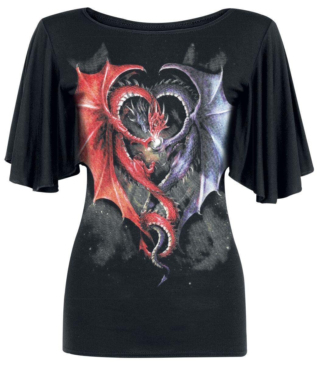 Image of   Spiral Dragon Heart Girlie trøje sort
