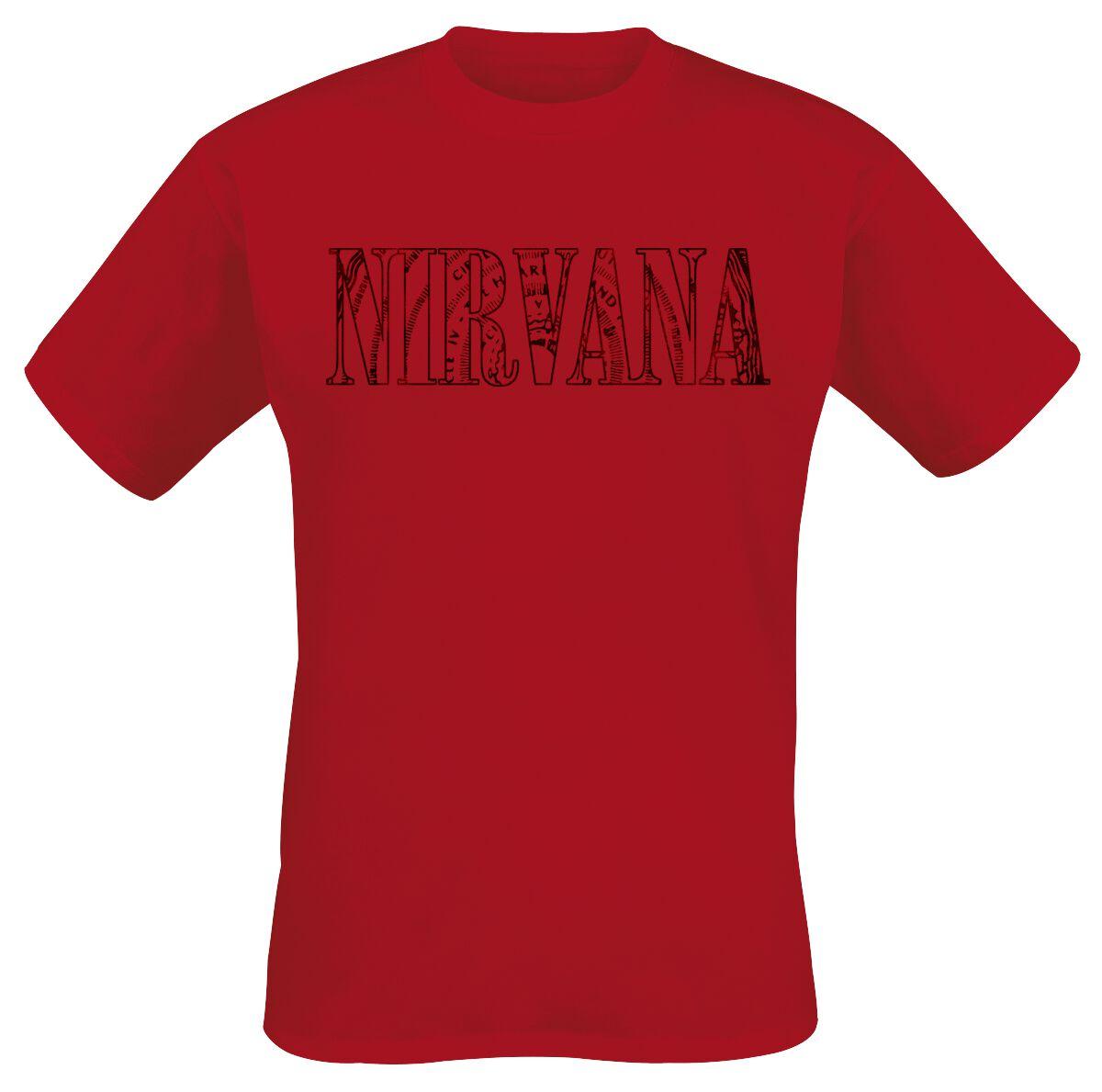 Zespoły - Koszulki - T-Shirt Nirvana Map Logo T-Shirt czerwony - 365215