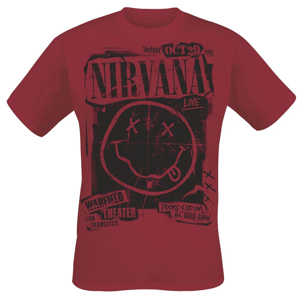 Zespoły - Koszulki - T-Shirt Nirvana Band Poster T-Shirt czerwony - 365217