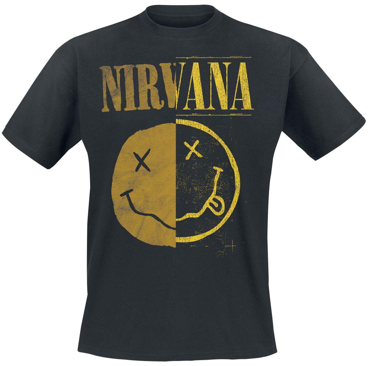 Zespoły - Koszulki - T-Shirt Nirvana Spliced Smiley T-Shirt czarny - 365218