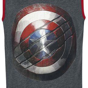 Captain America Bouclier Débardeur gris chiné/rouge