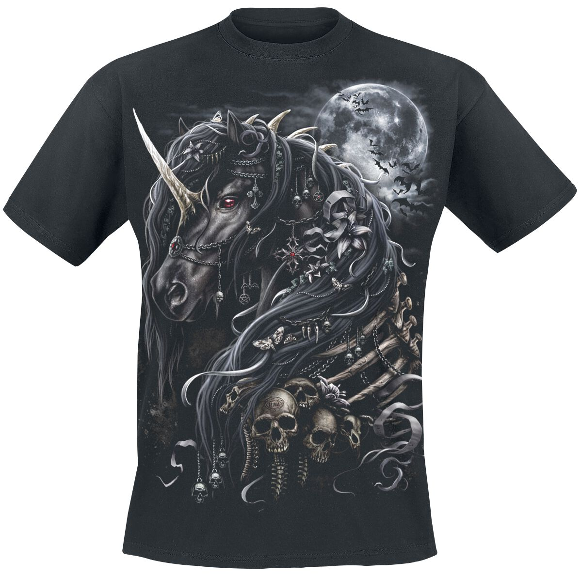 Image of   Spiral Dark Unicorn T-Shirt sort