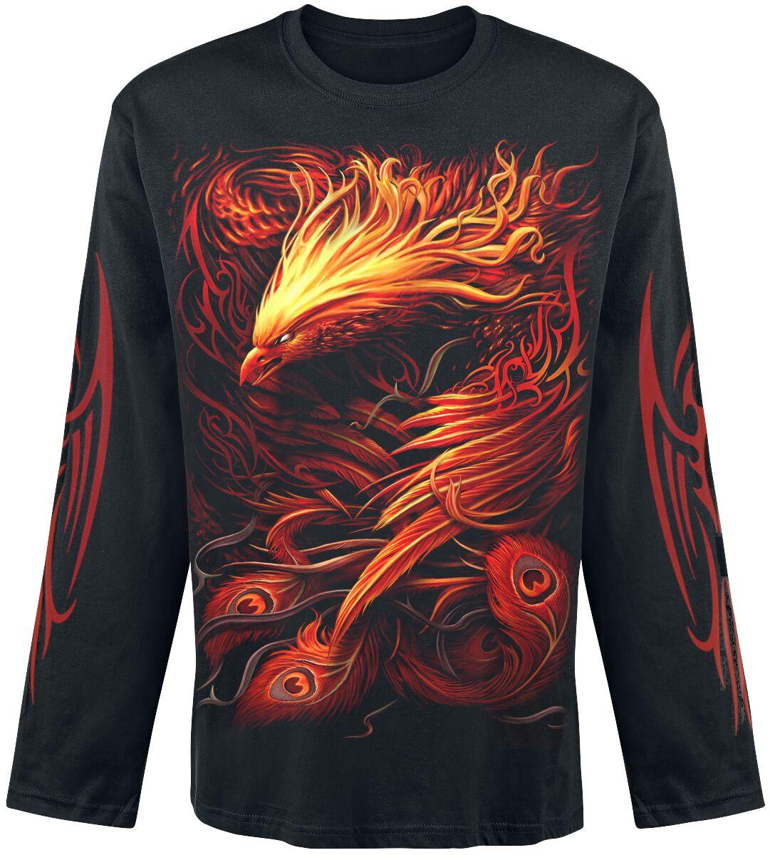 Image of   Spiral Phoenix Arisen Langærmet sort