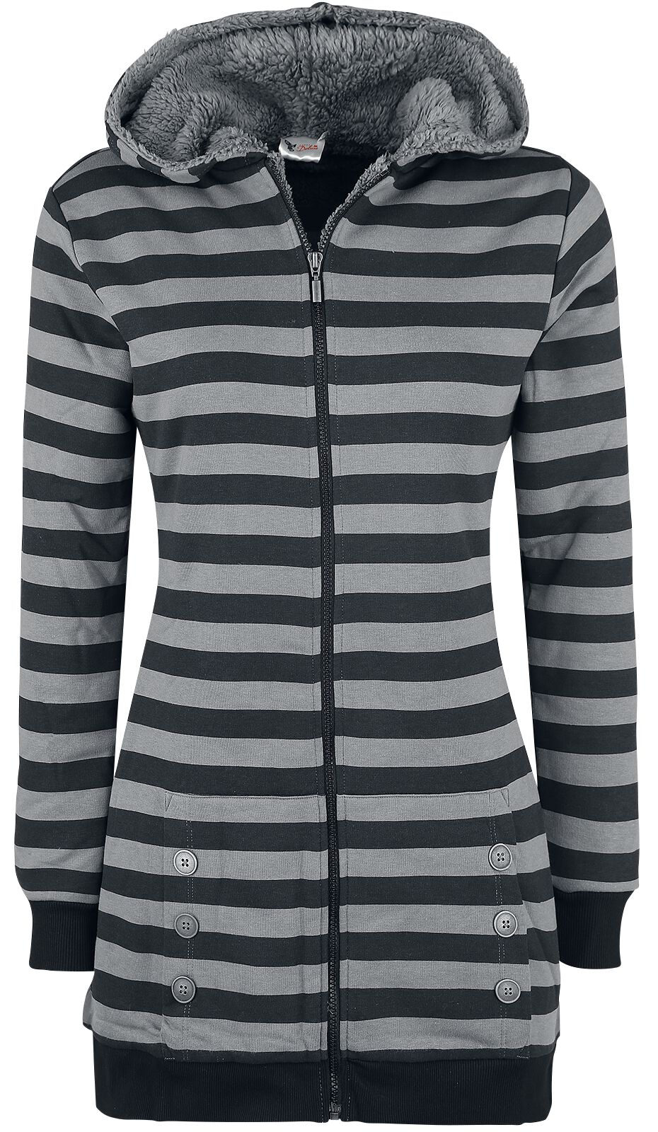 Image of   Pussy Deluxe Teddy Fleece Coat Girlie hættejakke sort-grå
