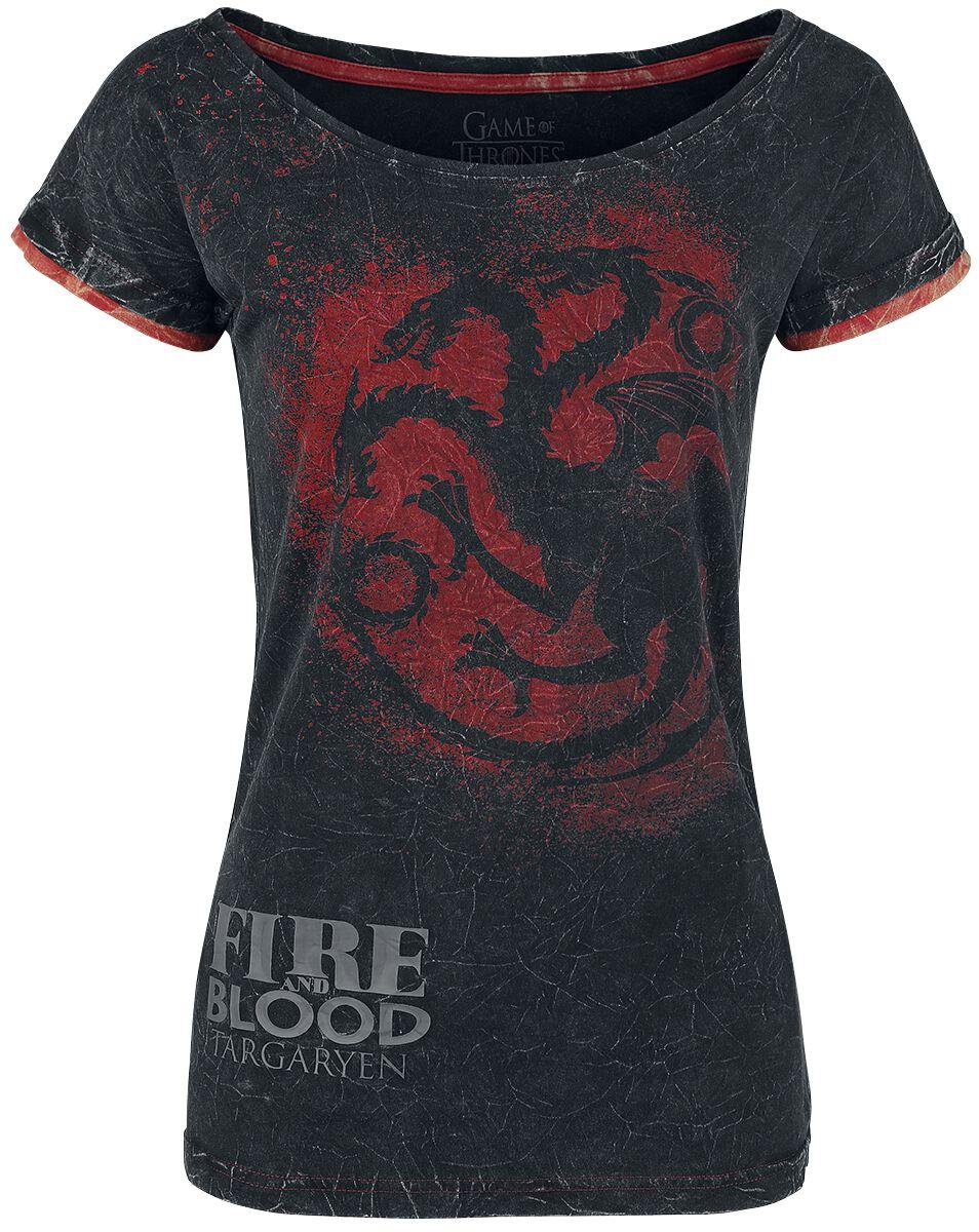 Image of   Game Of Thrones Targaryen - Fire And Blood Girlie trøje mørk grå