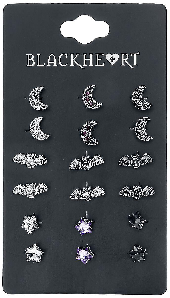 Image of   Blackheart Bat Ørestik sæt sort-sølv