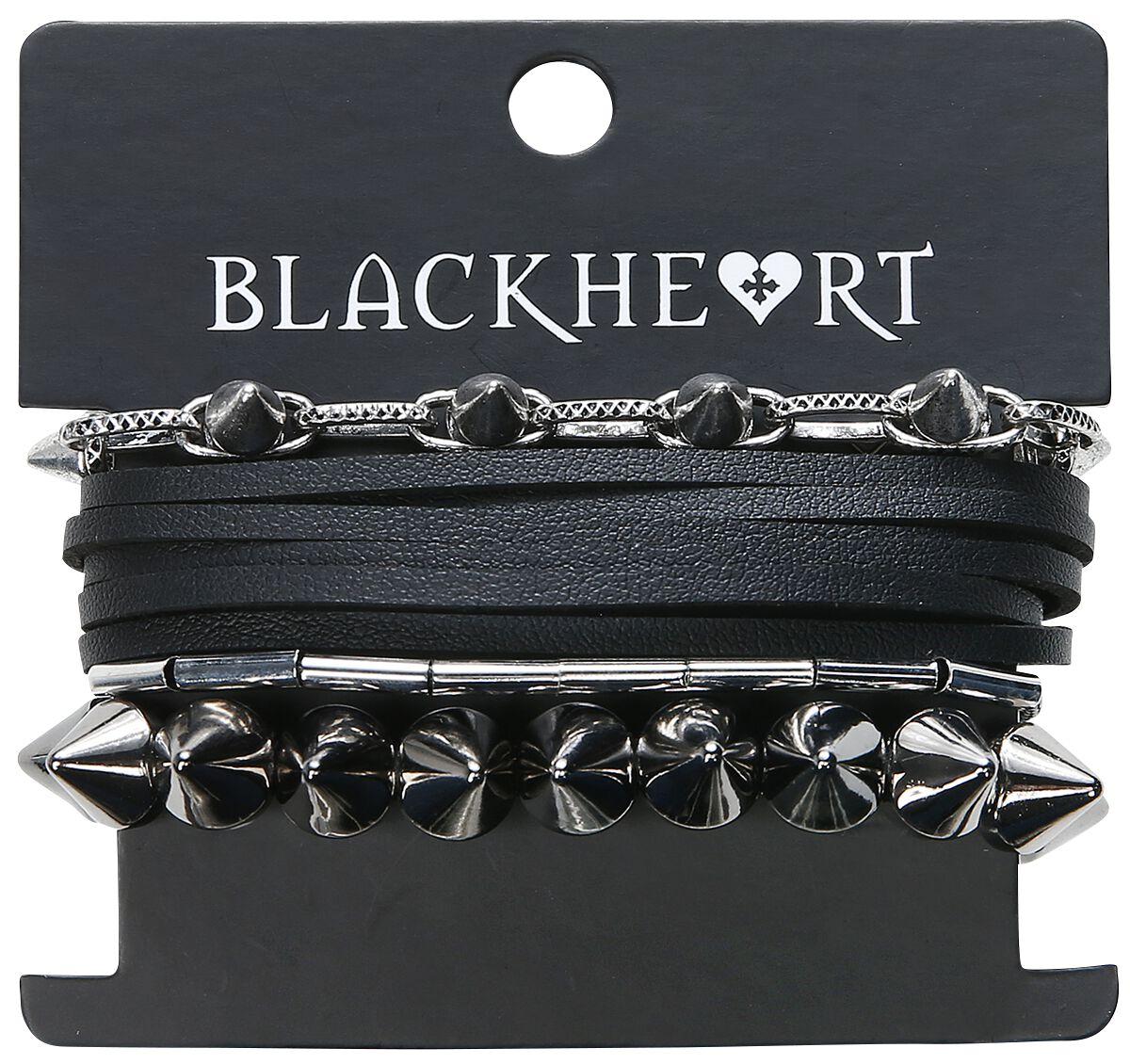 Image of   Blackheart Studs Armbånd, sæt sort-sølv