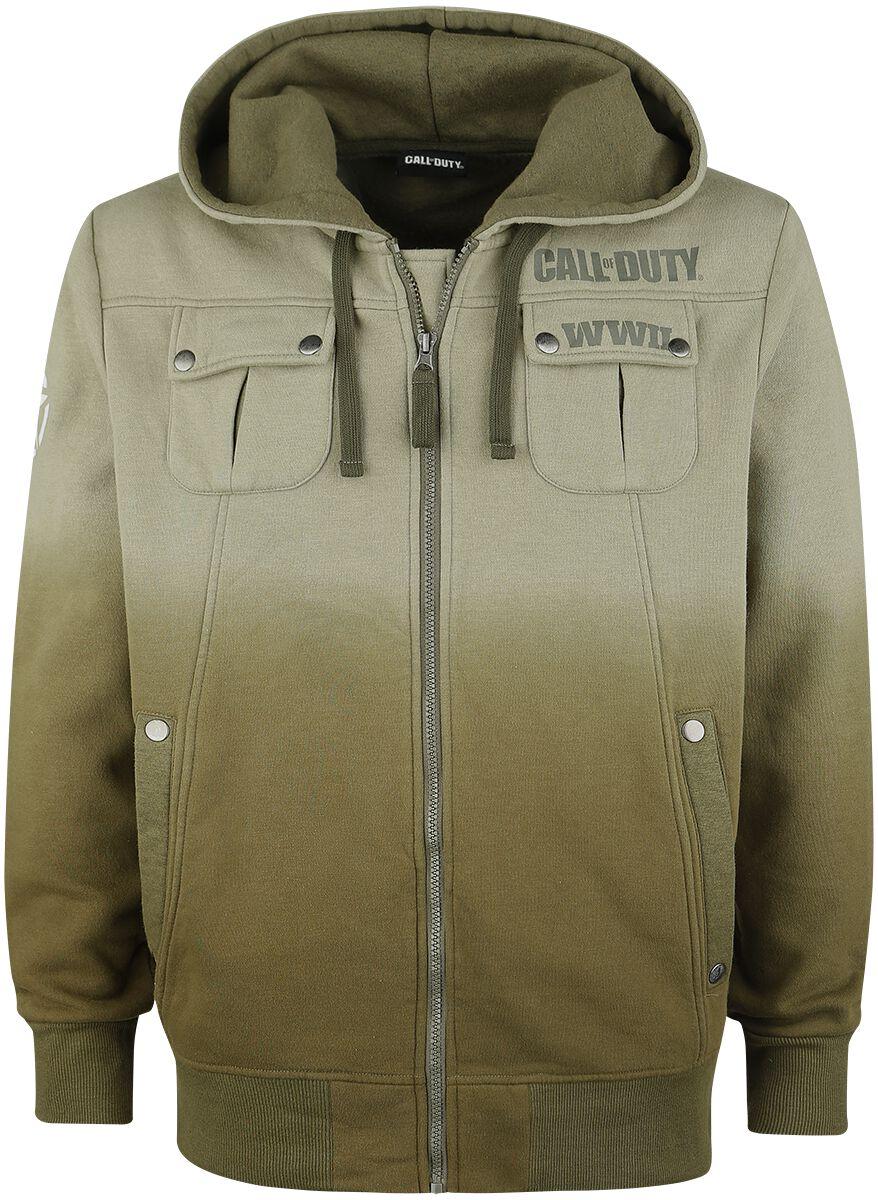 Merch dla Fanów - Bluzy z kapturem - Bluza z kapturem rozpinana Call Of Duty WWII Zip Hoodie Bluza z kapturem rozpinana oliwkowy - 366044
