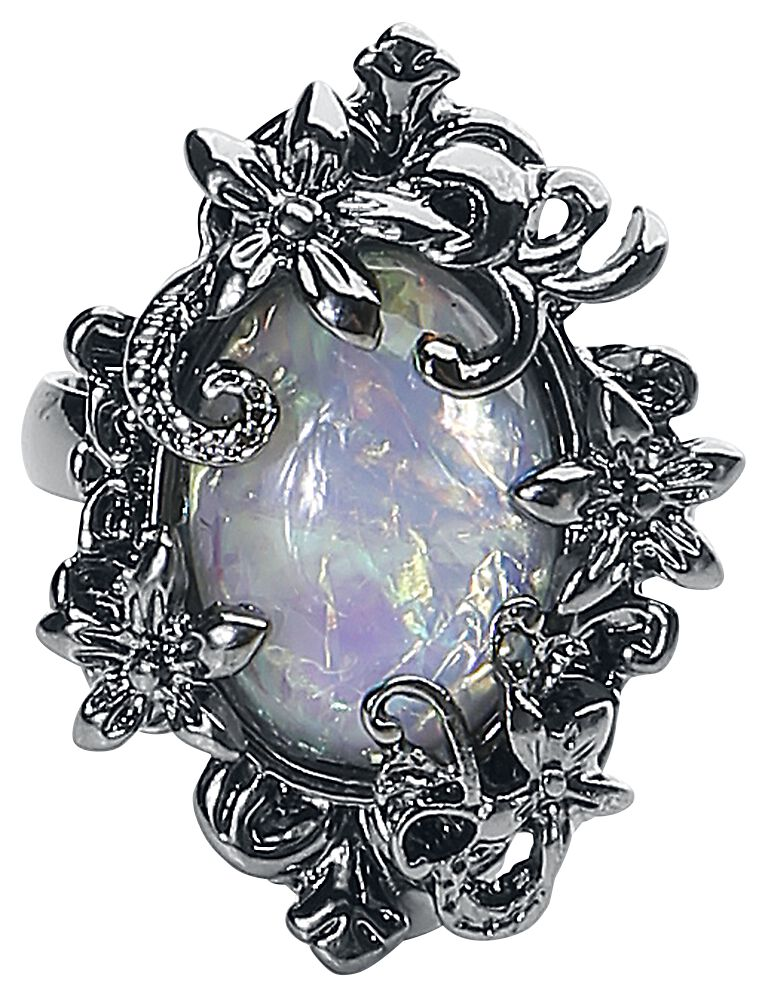 Image of   Blackheart White Opal Ring sølvfarvet