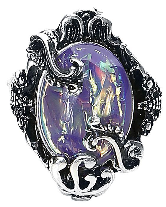 Image of   Blackheart Purple Opal Ring sølvfarvet