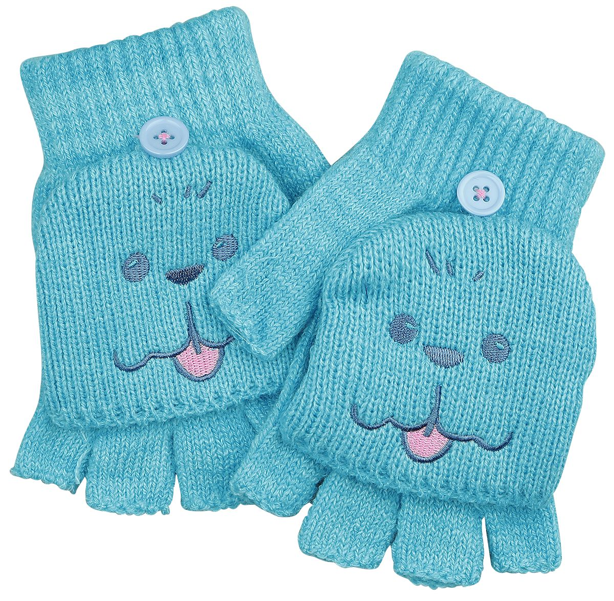 Handschuhe für Frauen - Yuri!!! On Ice Makkachin Fingerlose Handschuhe blau  - Onlineshop EMP