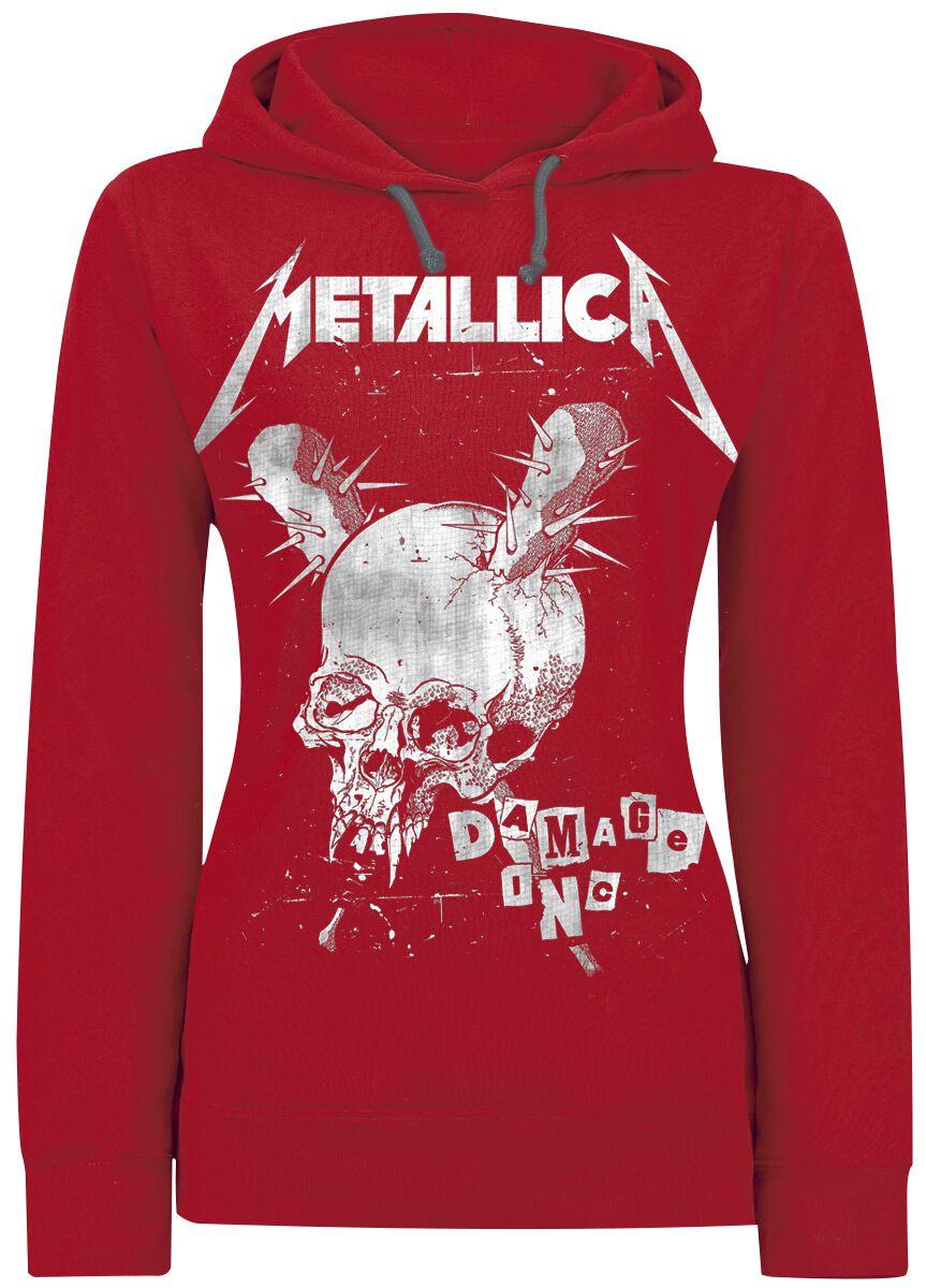 Image of   Metallica Damage Inc. Langærmet hættetrøje rød