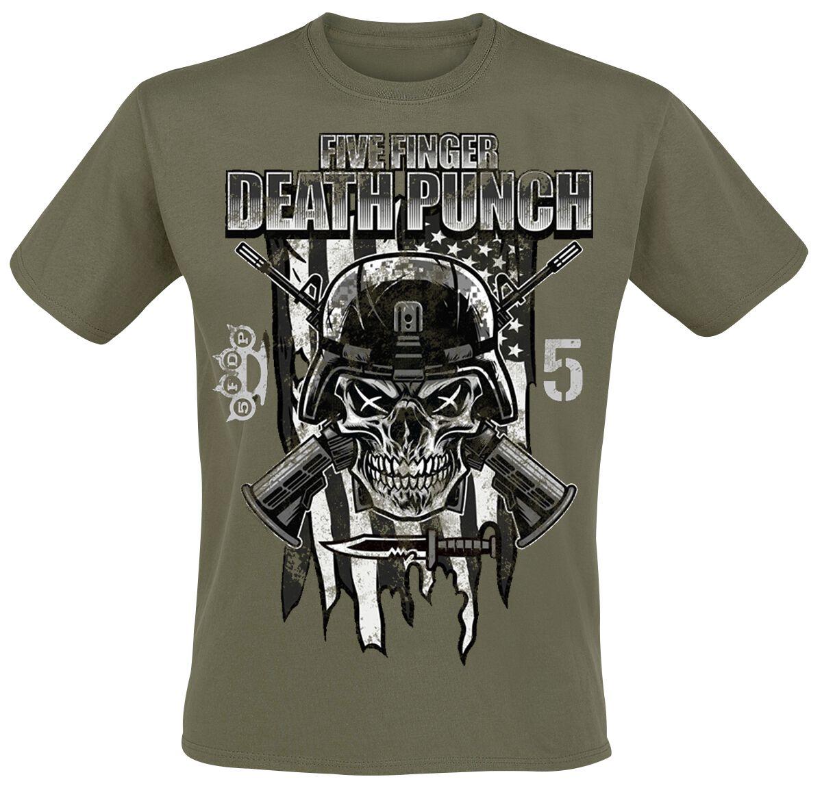 Image of   Five Finger Death Punch Infantry Special Forces T-Shirt olivengrøn