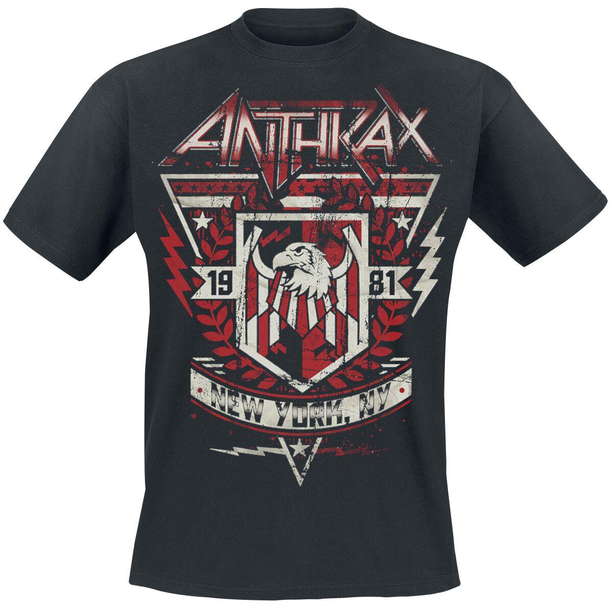 Zespoły - Koszulki - T-Shirt Anthrax '81 Crest T-Shirt czarny - 366335