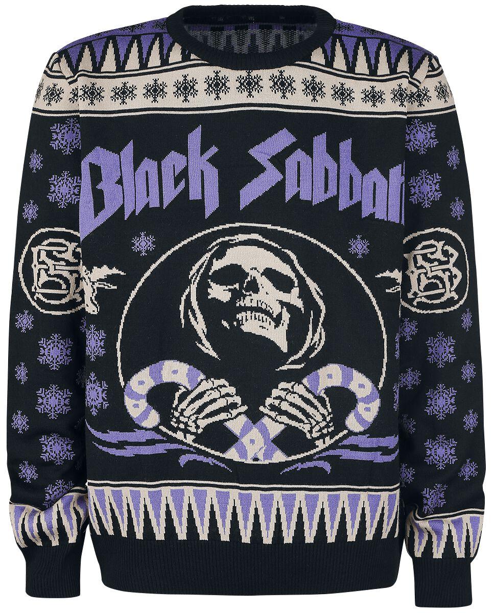 Zespoły - Bluzy - Sweter z dzianiny Black Sabbath Holiday Sweater 2017 Sweter z dzianiny czarny/jasnofioletowy - 366355