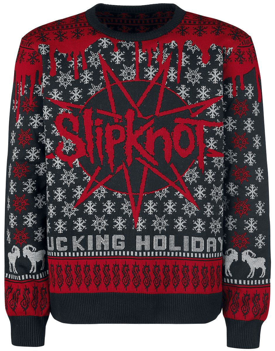 Image of   Slipknot Holiday Sweater 2017 Strikketrøje sort-rød