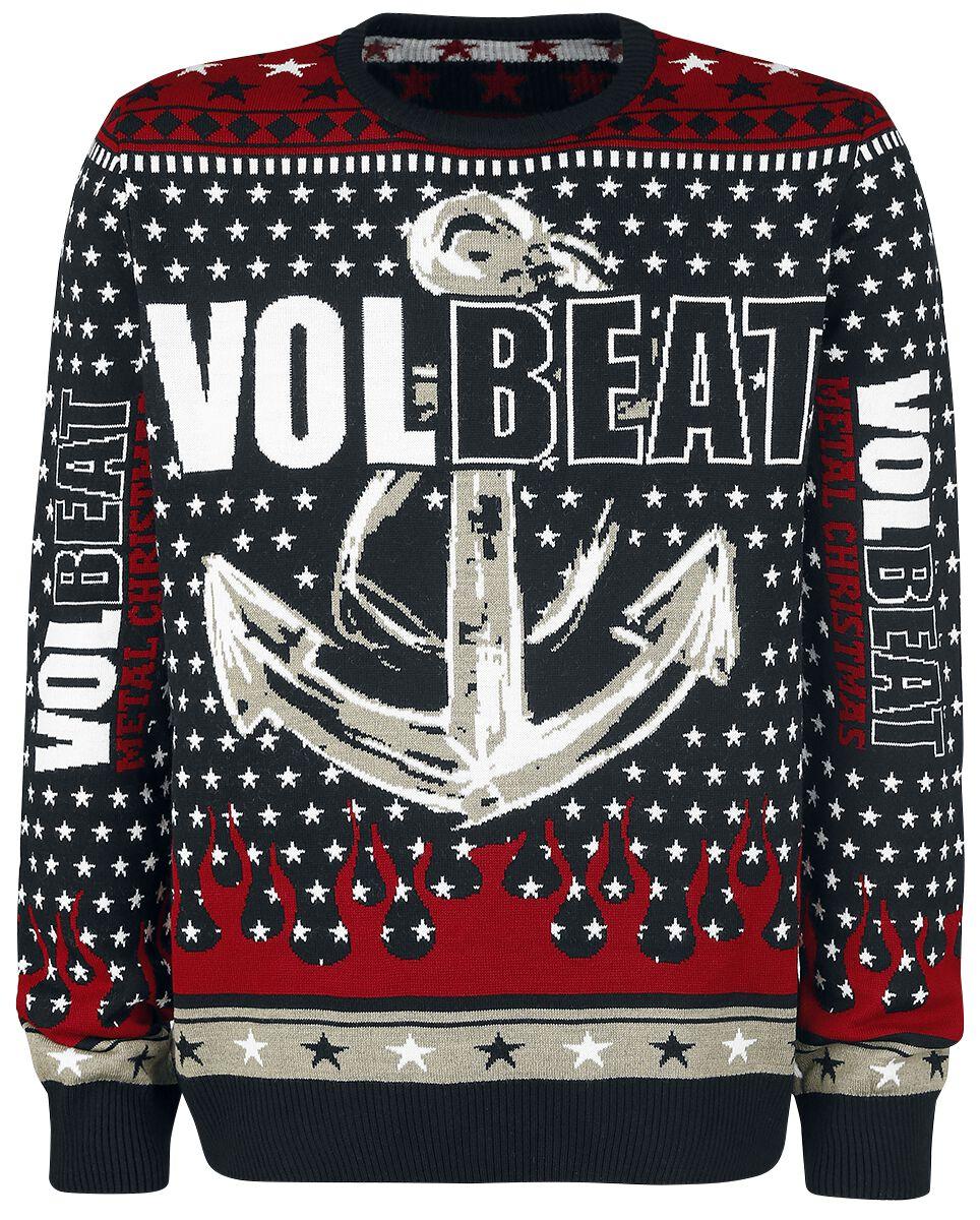 Image of   Volbeat Holiday Sweater 2017 Strikketrøje sort-rød-hvid