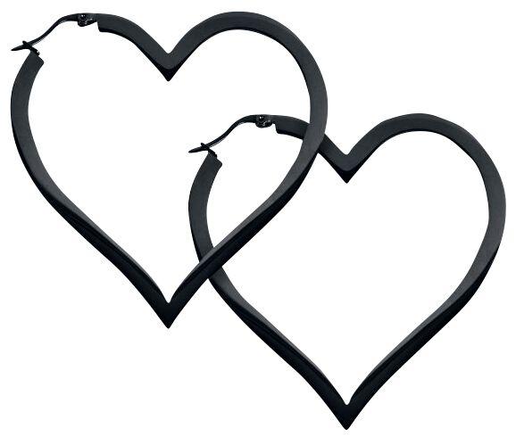 Image of   Wildcat Heart Hoops Øreringe sæt sort