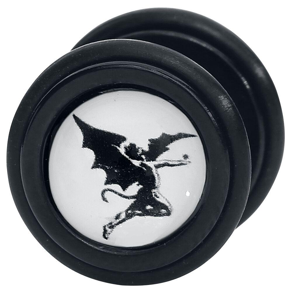 Zespoły - Kolczyki - Fake Plugi Black Sabbath Archangel Fake Plugi czarny/biały - 366462