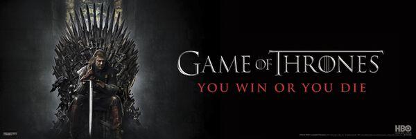 Image of   Game Of Thrones Eddard Stark - You win or you die Dørplakat multifarvet