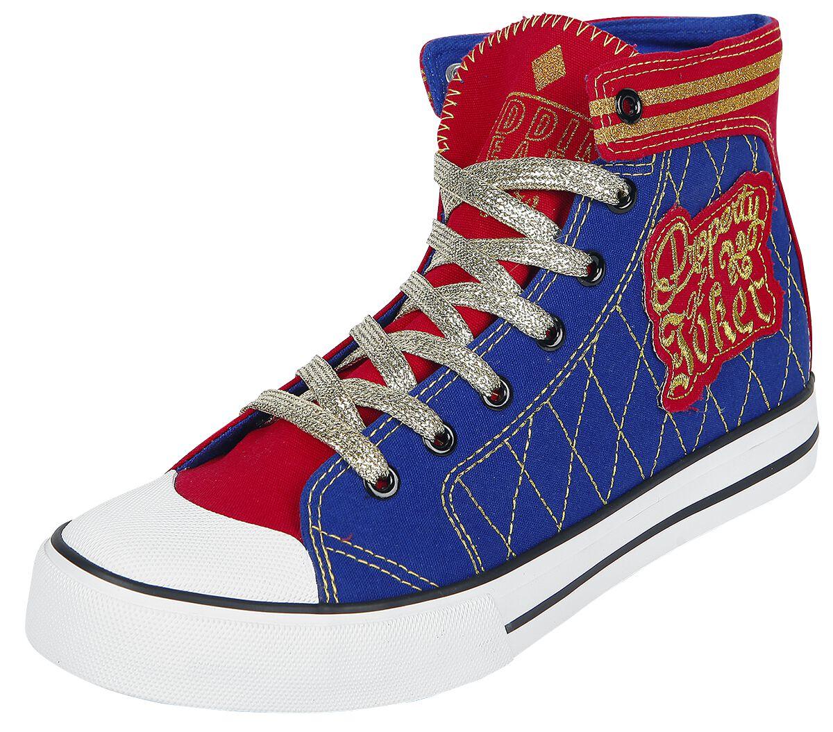 Merch dla Fanów - Buty - Buty sportowe Suicide Squad Harley Quinn - Daddy's Lil' Monster Buty sportowe czerwony/niebieski - 366546