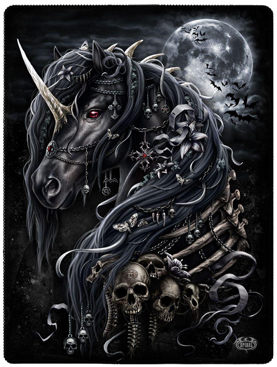 Image of   Spiral Dark Unicorn fleecetæppe Fleecetæppe sort
