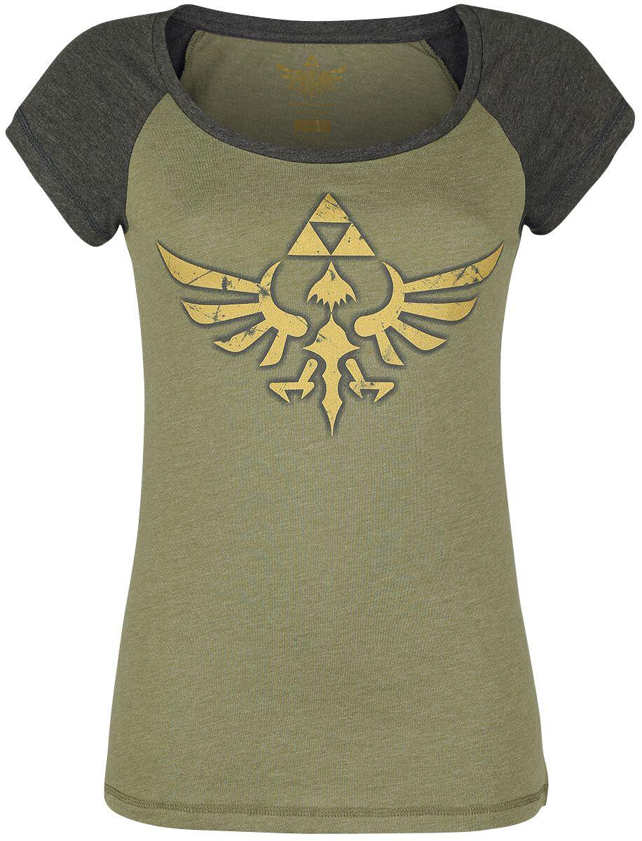 Image of   The Legend Of Zelda Triforce Girlie trøje meleret grålig