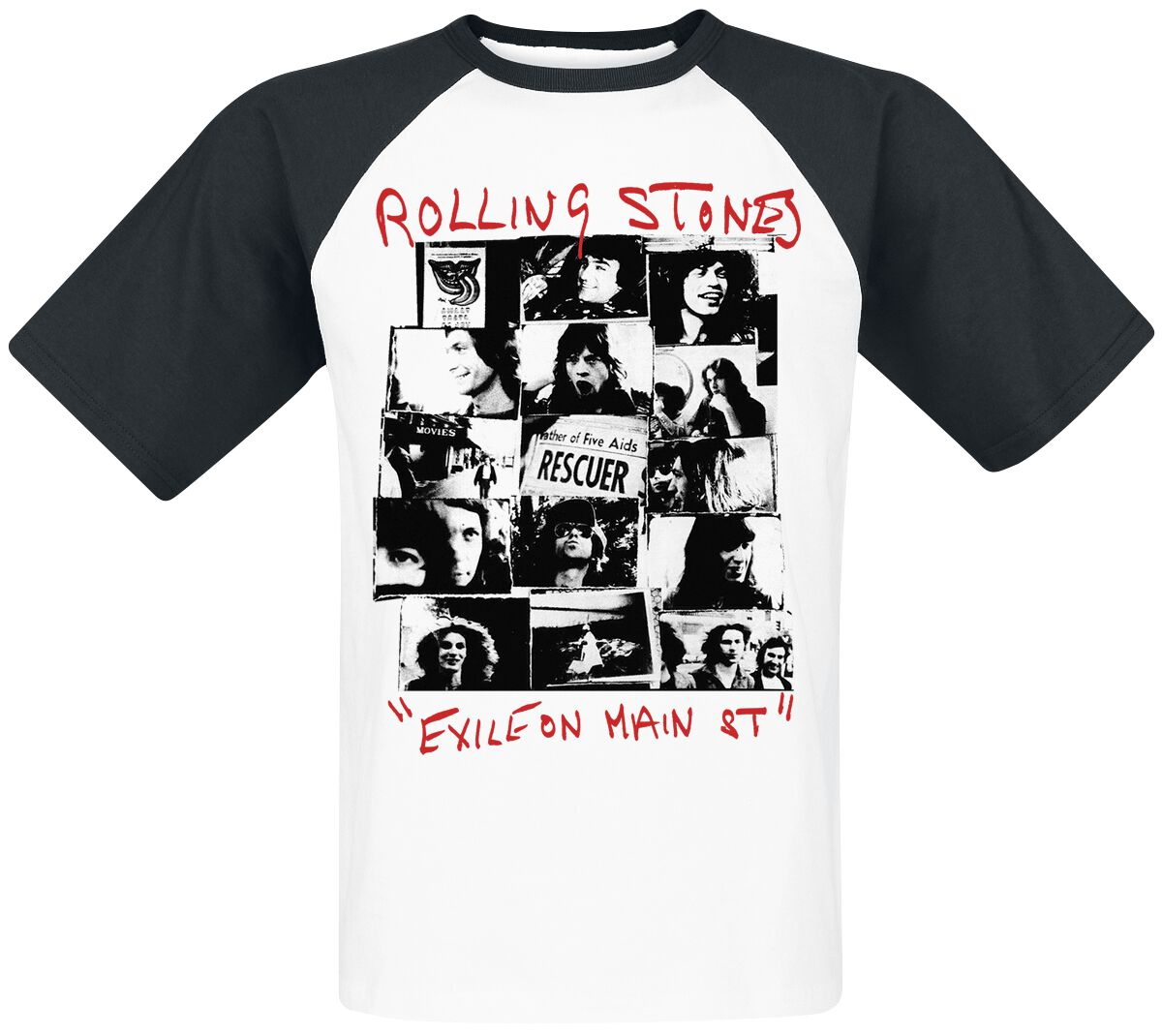 Image of   The Rolling Stones Exile on Main St. T-Shirt hvid-sort