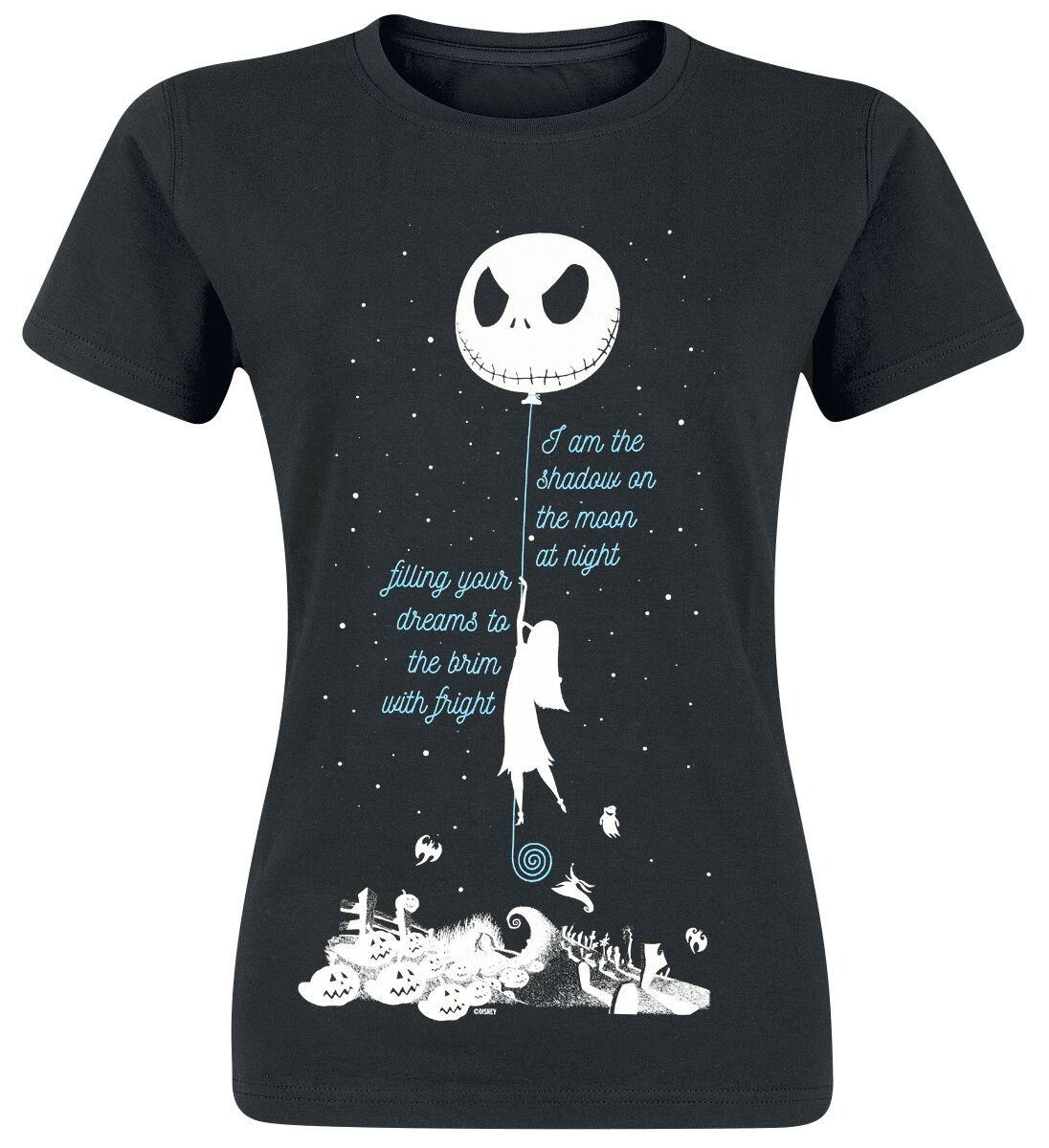 Image of   The Nightmare Before Christmas Shadow On The Moon Girlie trøje sort