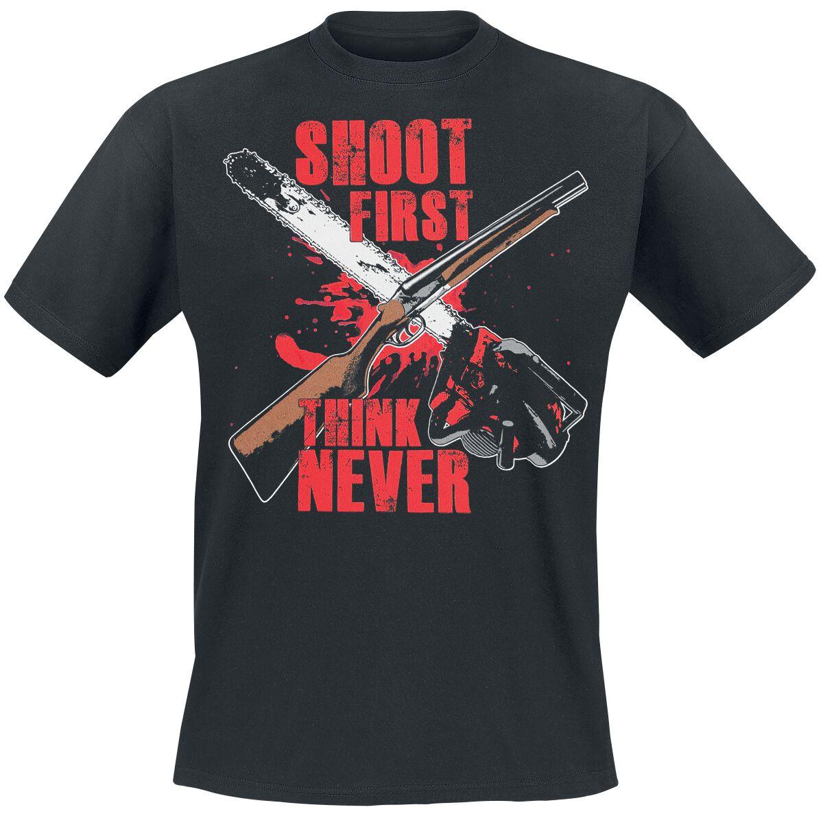 Merch dla Fanów - Koszulki - T-Shirt Ash vs. Evil Dead Shoot First T-Shirt czarny - 367370